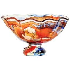 1980s, Mario Badioli Orange Red Blue Murano Glass Scalloped Centerpiece/Bowl