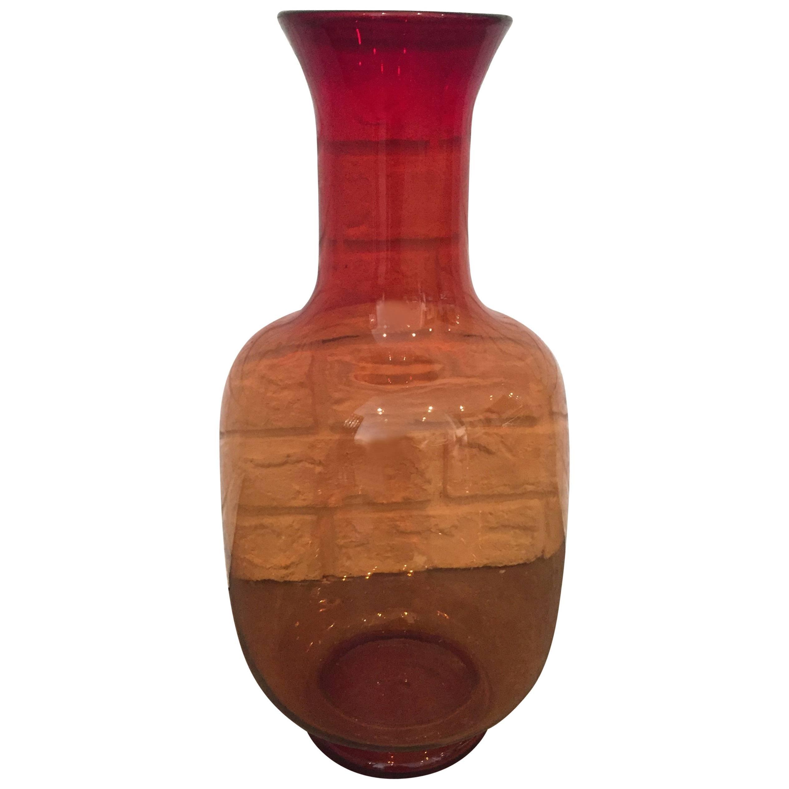 Joel Myers for Blenko Glass Orange Vase