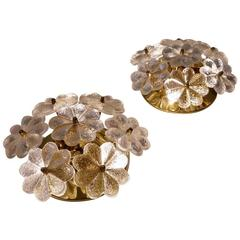 Glass Flowers and Brass Pair of Wall Lights by Ernst Palme, circa 1970s, German