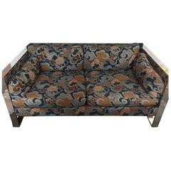 Milo Baughman for Thayer Coggin Chrome-Framed Settee in Original Upholstery