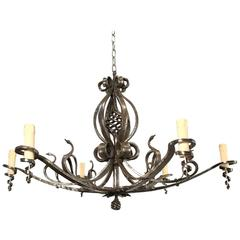 Arts and Crafts Wrought Iron Chandelier or Pendant with Stylized Swan Sculptures