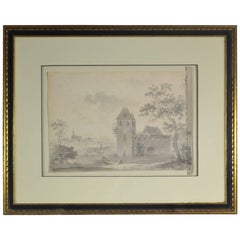 """Ink and Wash on Paper """"Country Estate with Moat"""""""