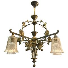 Striking Art Nouveau Brass & Bronze,  Pendant Light, Chestnut Art Chandelier
