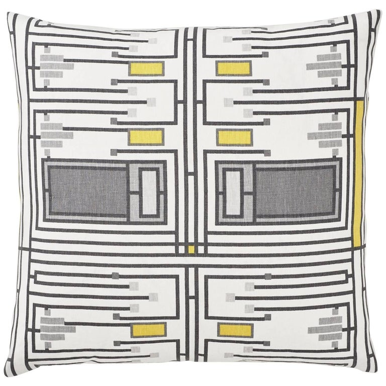 """Pair of Schumacher Frank Lloyd Wright Design105 Yellow Grey Two-Sided 26""""Pillows For Sale"""