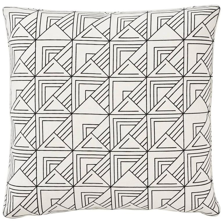"""Schumacher Frank Lloyd Wright St. Marks Black White Two-Sided 18"""" Pillows, Pair"""