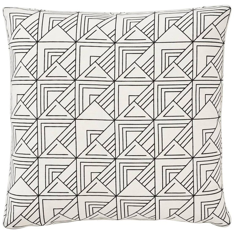 """Pair of Schumacher Frank Lloyd Wright St Marks Black White Two-Sided 18"""" Pillows For Sale"""