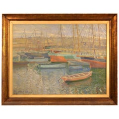 20th Century Painting of Ships in Harbor