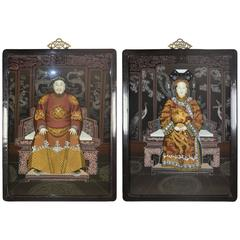 Pair of Chinese Reverse-Painted Glass Portraits