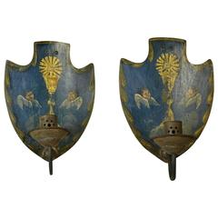 Italian Painted Copper Single-Light Sconces