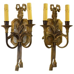 Pair of Directoire-Style Bronze Two Light Applique
