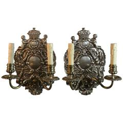 William and Mary-Style Silver Plate Sconces