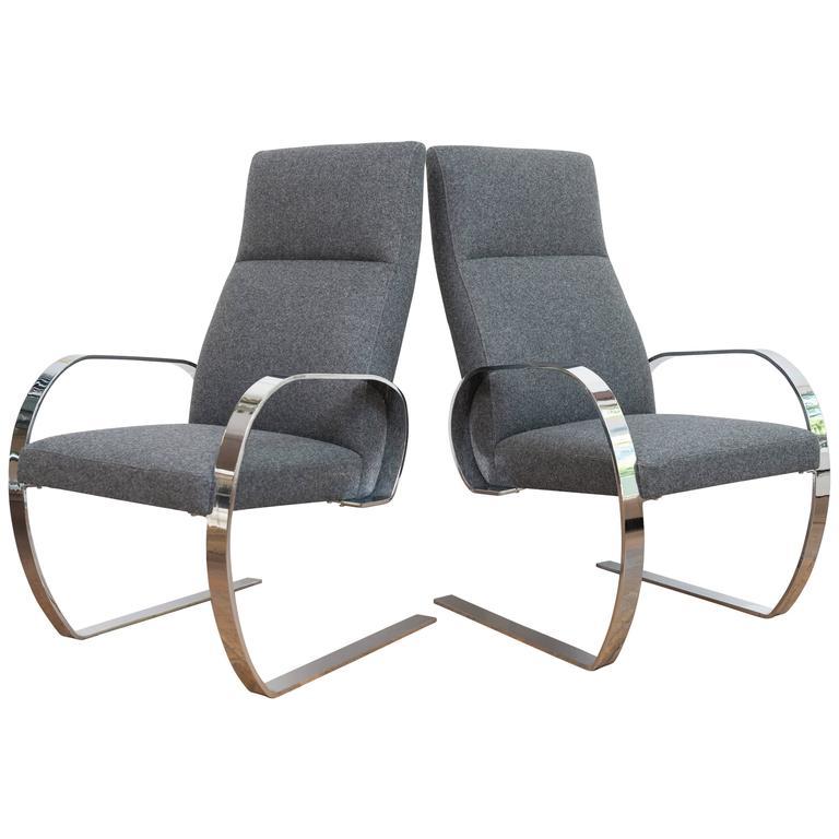 Chrome Cantilever Armchairs 1