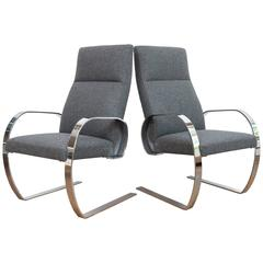 Chrome Cantilever Armchairs