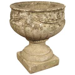 Vintage Cast Stone Drapery Swag Planter from Belgium