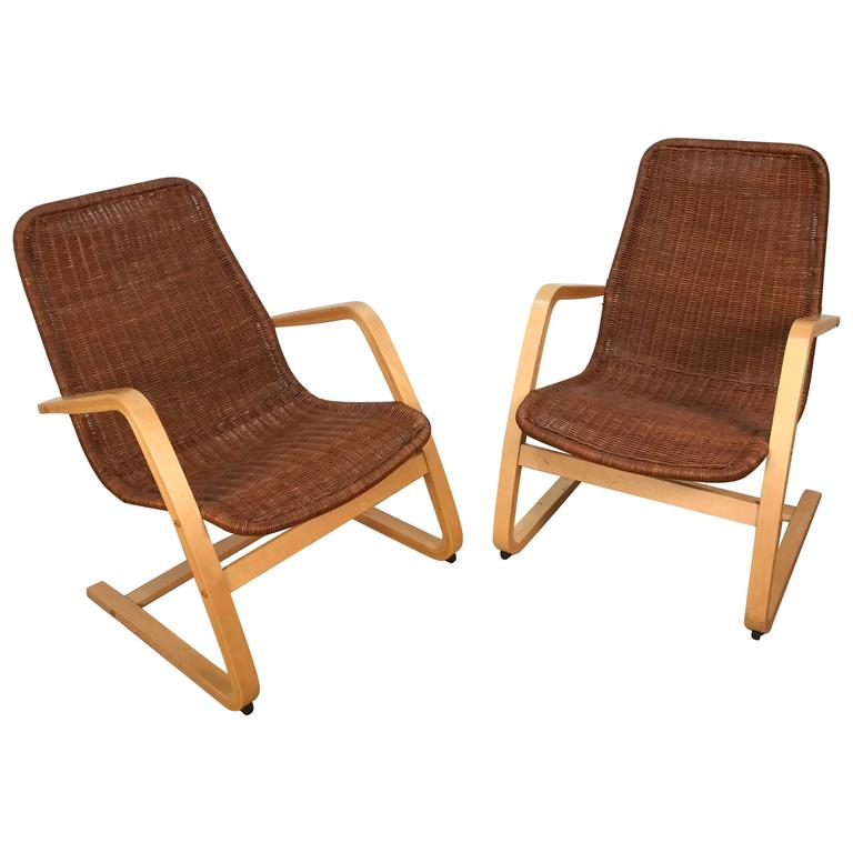Pair of Alvar Aalto Style Wicker Lounge Chairs