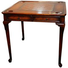Fine Italian Burled Walnut Leather Top Game Table