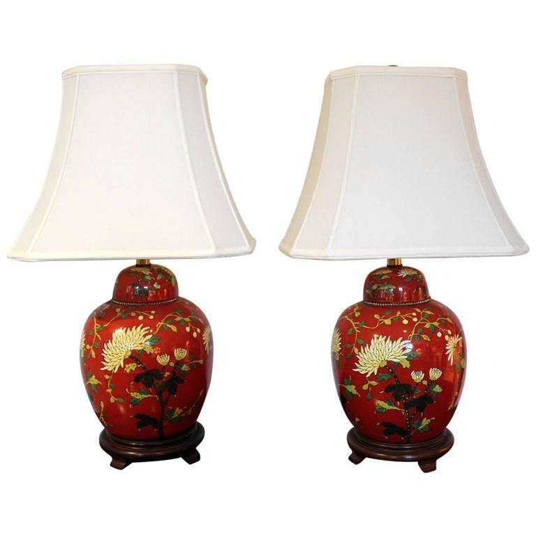 Pair Of Iron Red And Enameled Porcelain Ginger Jar Lamps For