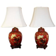 Pair of Iron Red and Enameled Porcelain Ginger Jar Lamps