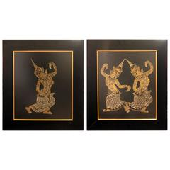 Pair of Burmese Dancer Drawings in Ebonized Frames