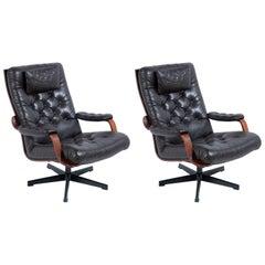 Mid-Century Italian Swivel Black Leather Armchairs