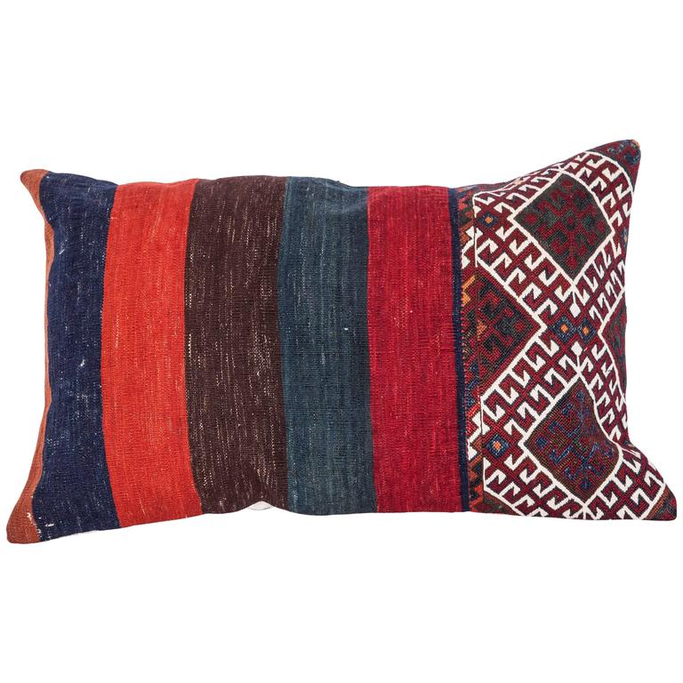 Antique Pillow Made Out of a 19th Century Anatolian Bag For Sale