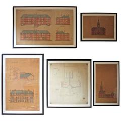 Five Framed 19th century Architects Drawings and Plans, Lunatic Asylum Interest
