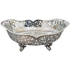 20th Century Pierced Sterling Silver Basket