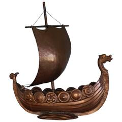 Unique Folk Art Copper Viking Ship Table Piece with Shields and Boxes on Deck
