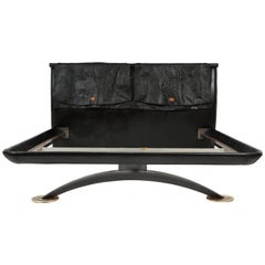 Pierre Cardin Black Leather Bed Bronze and Iron Base, 1970s-1980s