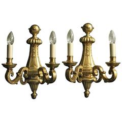 French Pair of Bronze Twin-Arm Antique Wall Lights