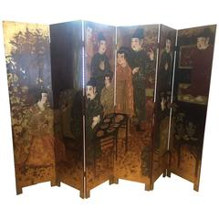 Striking Glamorous Six-Panel Asian Screen in Earth Tones