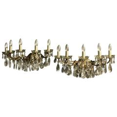 Italian Pair of Large Five-Arm Antique Wall Lights
