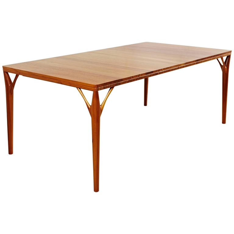 Solid Teak Dining Table Handmade In Style Of 1950s Danish Design For Sale