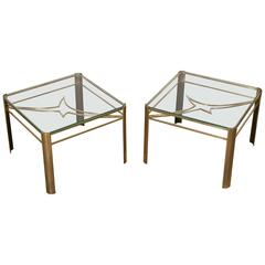 Rare Pair of Bronze End Tables for Maison Malabert