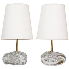 Pair of Angelo Brotto Glass Blocks Table Lamps