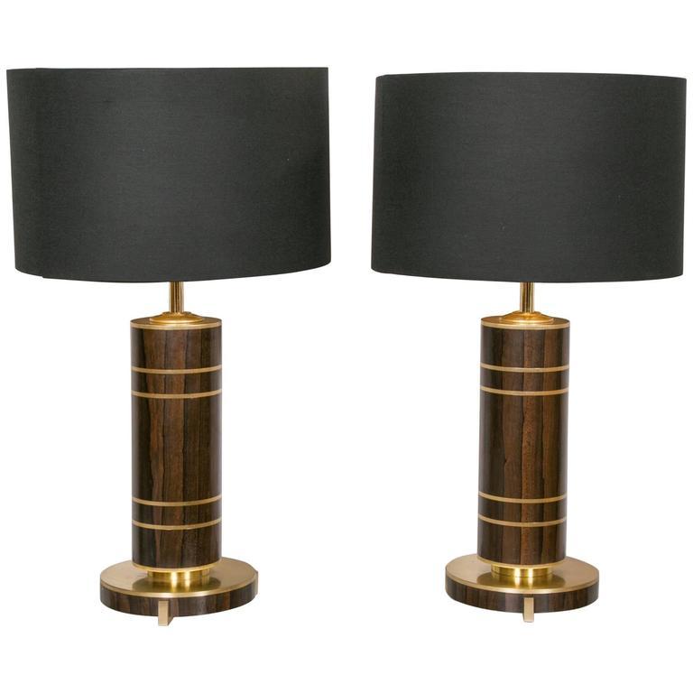 Pair of Mahogany and Brass Lamps, circa 1980