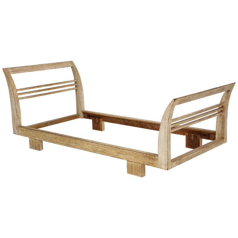 Royere Gouffe cerused oak daybed deco, France, 1930s-1940s Mid-Century  Amazing rare pair of daybeds designed by Royere and made by Maison Gouffe. In lovely original condition. Pair available. Please inquire. PRICE IS PER ITEM. Part of a seven-piece