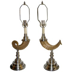 Silver Plated Horn Lamps