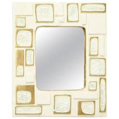 Francois Lembo Ceramic Jewel White Jewel Mirror Geometric, 1960-1970