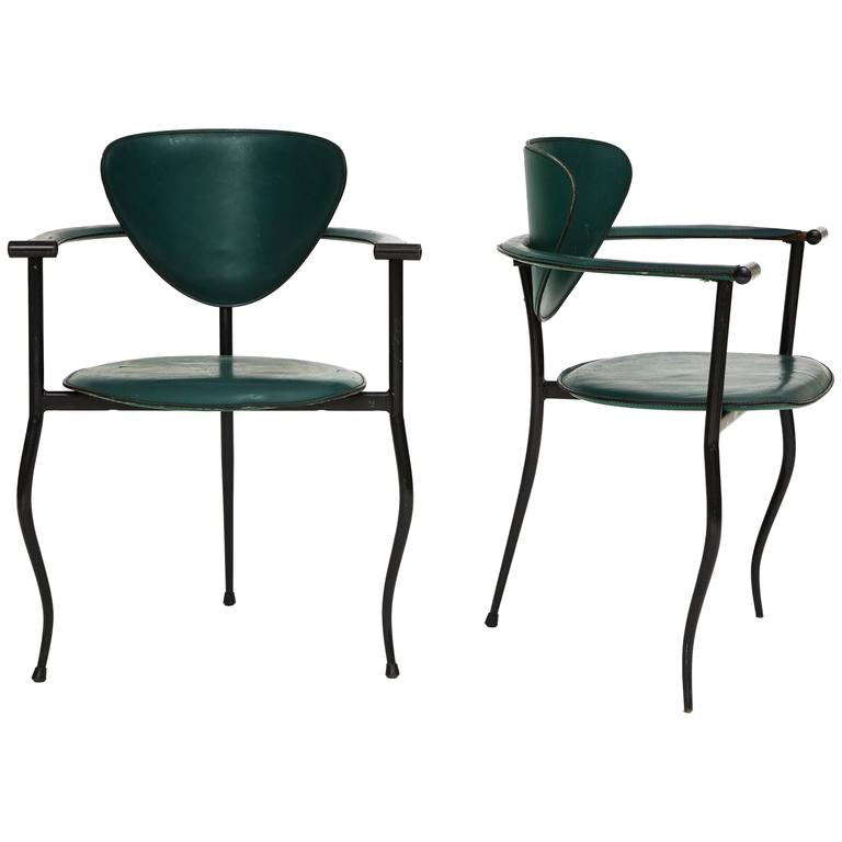 Postmodern Sculptural Green Leather and Iron Side Chairs, 1980s-1990s For Sale