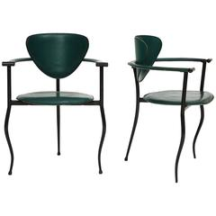 Postmodern Sculptural Green Leather and Iron Side Chairs, 1980s-1990s