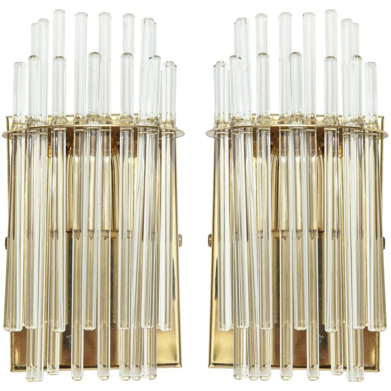 Sciolari Glass Rod Brass italian Sconces, Mid-Century, 1960s 1