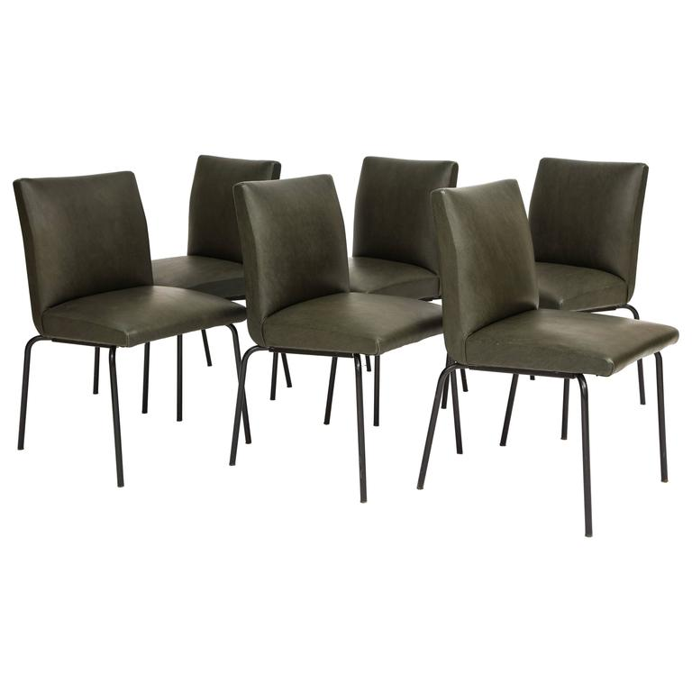 Guariche Robert Meurop Dining Chairs Faux Leather, 1960 Mid-Century, France