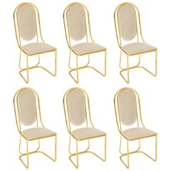 Glam Brass and Grey White Velvet Dining Chairs, Mid-Century, 1970s-1980s, Italy
