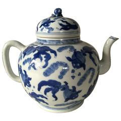 18th Century Chinese Blue and White Porcelain Teapot Kangxi, Yongzheng Reign