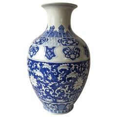 Late 20th Century Chinese Baluster Blue and White Vase Qianlong Mark