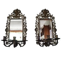 Pair of Renaissance Revival Bronze & Beveled Mirror Wall Sconces and Candelabras