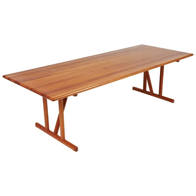Danish Solid Cherrywood Dining Table With Two Extension Leaves For Sale