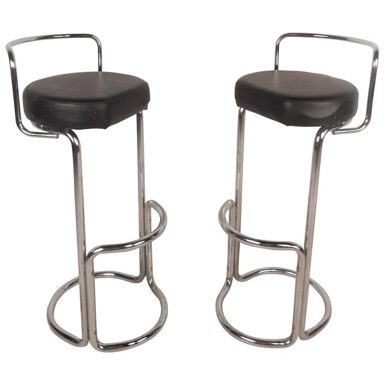 Unusual Pair of Mid-Century Modern Bar Stools