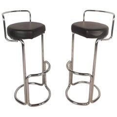 Unusual Pair of Mid-Century Modern Bar Stools